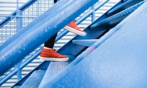 Image of someone climbing stairs