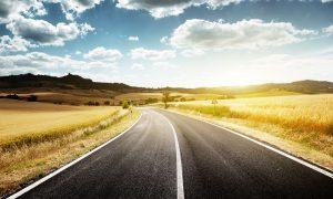 Image of highway leading to beautiful horizon