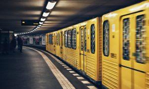 Image of a yellow underground subway train